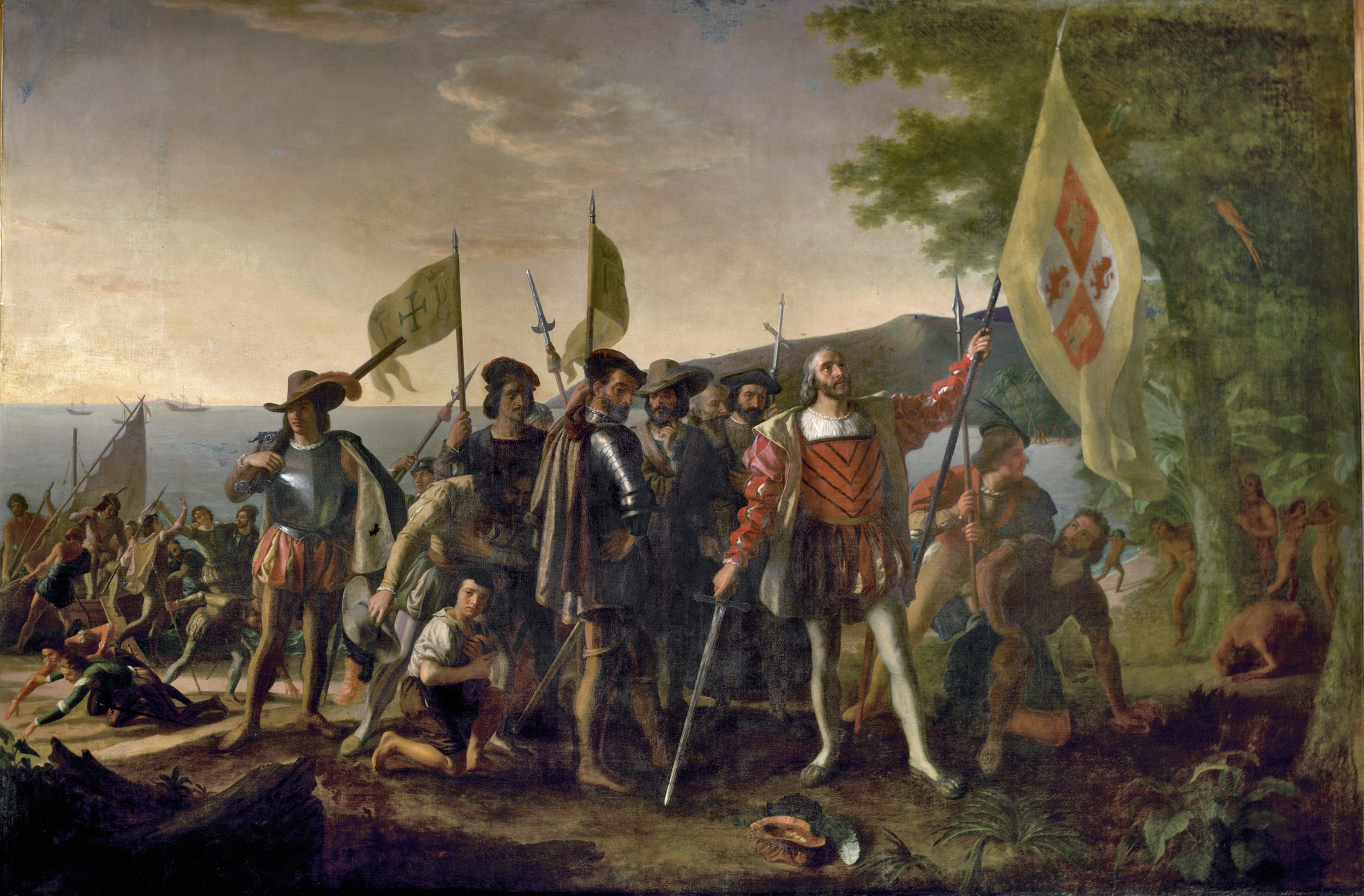 Landing of Columbus, 1846, John Vanderlyn (1775–1852), oil on canvas, 12'H x 18'W, Placed in the U.S. Capitol Rotunda 1847